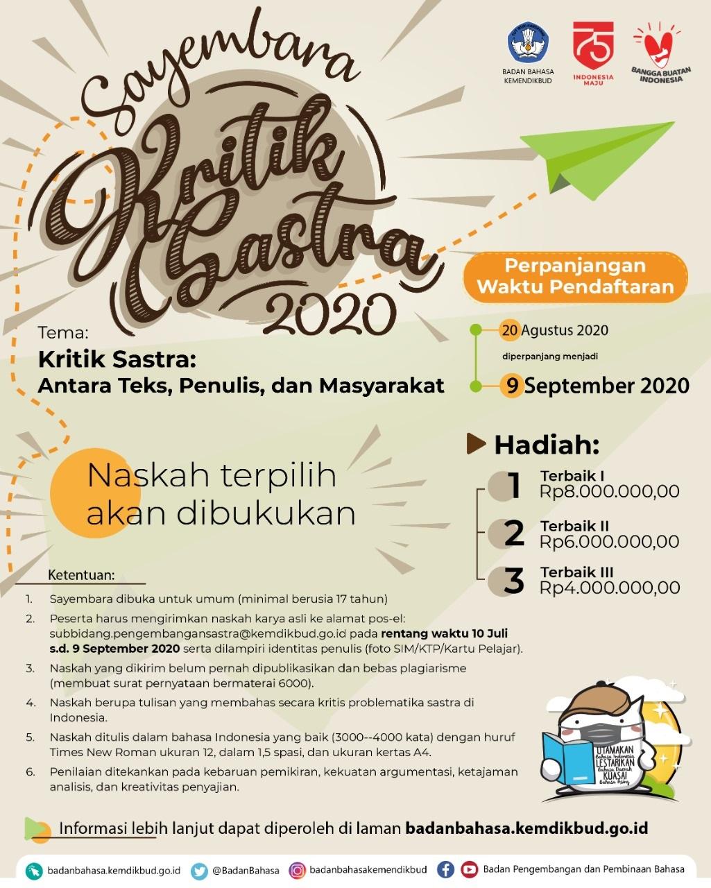 Perpanjangan Waktu Pendaftaran Sayembara Kritik Sastra 2020 Badan Pengembangan Dan Pembinaan Bahasa Kementerian Pendidikan Dan Kebudayaan