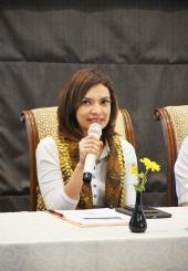 Najwa Shihab memberikan pandangan dan pengalamannya pada penutupan lokakarya