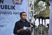 Kepala Pusat Pembinaan, Gufran Ali Ibrahim, menyampaikan laporan pelaksanaan Gerakan Pengutamaan Bahasa Negara di Ruang Publik