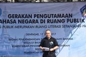 Kepala Badan Bahasa, memberikan sambutan pada acara Gerakan Pengutamaan Bahasa Negara di Ruang Publik