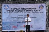 Kepala Dinas Kebudayaan Bali, Dewa Putu Beratha, mewakili Gubernur Bali, menyampaikan sambutan Gubernur, sekaligus membuka acara Gerakan Pengutamaan Bahasa Negara di Ruang Publik.